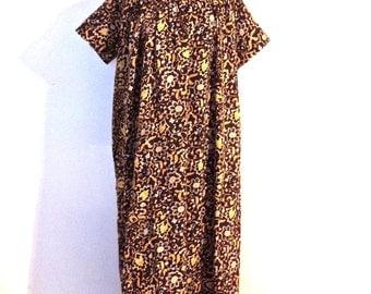 vintage floral tunic dress - 1960s brown/yellow mumu maxi dress