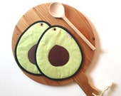 avocado slice potholders - green guacamole hot pad - hostess gift - food slice - fun foodie present green avocado slice