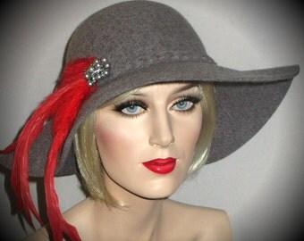 LADY KANGOL DESIGN- Grey Wool Felt Hat, Medium Grey Wool Brimmed Hat, Floppy Wide Brim Winter Wool Hat, Grey Felt Ladies Hat, Mad Men Hat