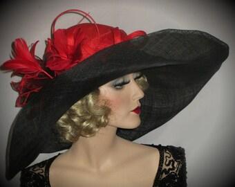 SPRING FLING SOPHISTICATE Kentucky Derby Hat, Extra Wide Brim Red & Black Sinamay Derby Hat, Downton Abbey Wide Brim Hat, High Tea Hat