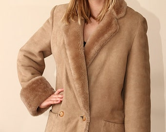 L XL WARM sheepskin vintage 70s coat jacket shearling fur