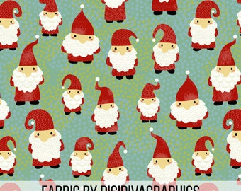 Gnome Gathering Fabric By The Yard - Cute Beard Red Gnomes Festive Print in Yard & Fat Quarter