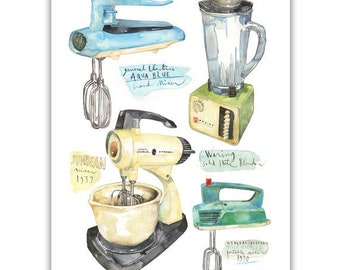 Vintage kitchen mixer print, Retro blender poster, Kitchen wall art, Blue kitchen decor, Watercolor painting, 50s kitchen artwork Home decor