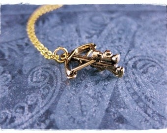 Gold Crossbow Necklace - Antique Gold Pewter Crossbow Charm on a Delicate Gold Plated Cable Chain or Charm Only