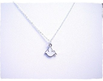 White Dove Necklace - White Enameled Antique Pewter Dove Charm on a Delicate Silver Plated Cable Chain or Charm Only