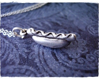 Silver Hotdog Necklace - Sterling Silver Hotdog Charm on a Delicate Sterling Silver Cable Chain or Charm Only