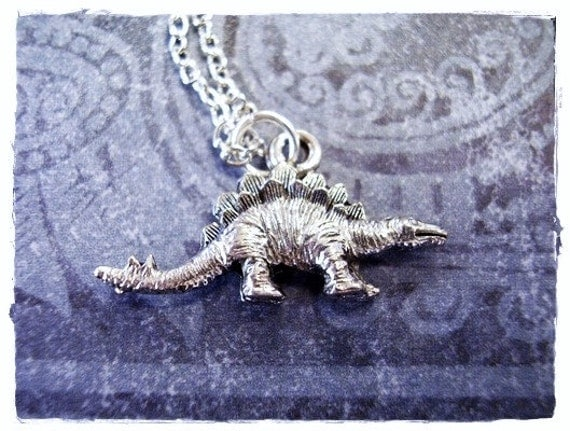 Silver Stegosaurus Dinosaur Necklace - Antique Pewter Stegosaurus Charm on a Delicate Silver Plated Cable Chain or Charm Only