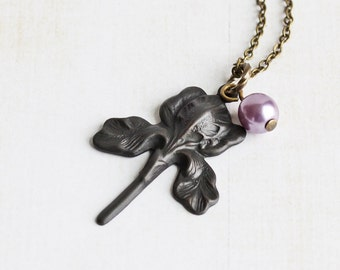 Oxidized Black Patina Iris Flower Necklace on Antiqued Brass Chain (Choose Pearl Color or No Pearl)