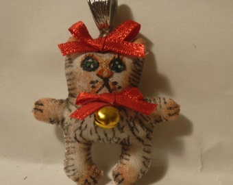 "Ooak Pendant- Hand-Painted  hand- craft -Art Doll ""Cat "" Pendant hand- painted"