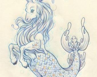 "Mermay#4 ""The Capricorn"" - Original Drawing on Moleskine ORIGINAL OOAK Art"