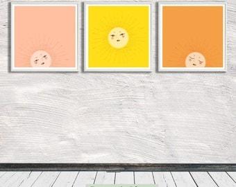 Sun - morning, noon, evening, Illustration, Nursery Art, Wall Art, Printable Art, Instant Digital Download