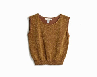 Vintage Metallic Copper Gold Sweater Vest - women's medium