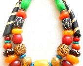 Amber Batik Bone Resin Brass Wood African Inspired Big Bead Chunky Statement Necklaces, NLO16913: Sanaga & Nyong