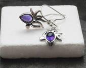 Amethyst Earrings, Small Sterling Silver Purple Amethyst Dangle Earrings, Dainty Amethyst Jewelry, Genuine Amethyst Birthstone Earrings Gift
