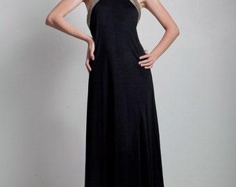 SALE vintage 70s evening maxi dress gown slinky sequin sequinned choker collar halter black MEDIUM M