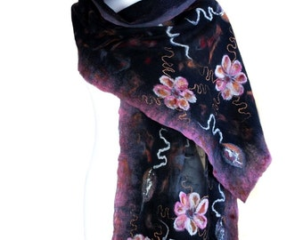 Nunofelted scarf, flowers, pink and black, unique handmade