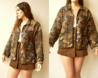 90's Vintage Animal Print Woven Tapestry Slouchy Oversized Jacket Coat