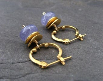Tanzanite earrings, small hoops, dangle earrings, genuine tanzanite, rondelle drop, blue earrings, handmade