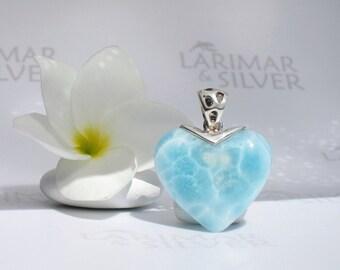 Larimar pendant from Larimarandsilver, Genesis of Love - aqua Larimar heart, sea foam heart, turtleback, Venus love handmade Larimar pendant
