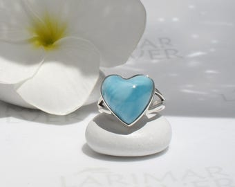 Larimar heart ring size 6 by Larimarandsilver, Angel Heart 2 - sky blue Larimar heart, blue heart ring, topaz blue, handmade Larimar ring