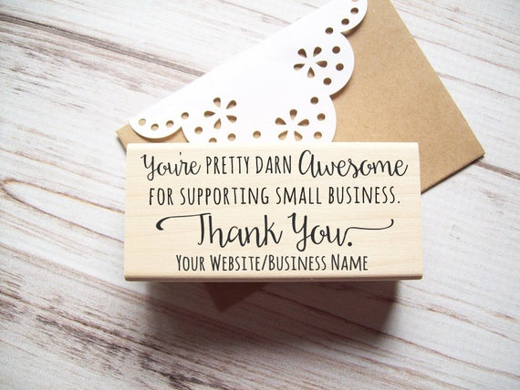 Thank You Stamp with Website Address for Small Business - Custom , Business Card Stamp , Photographers , Independent Artists , Etsy Sellers