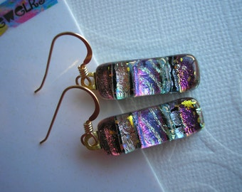 Dichroic Glass Jewelry Copper, Purple, Silver & Gold Earrings Gold Earwires Kiln Fired Glass Fused Home Crafted Dangles Skinny Elegant
