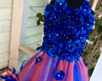 Patriotic feather edge flower top tutu dress, girls tutu, toddler tutu, pageant tutu, tulle tutu, flower girl dress tulle, girl clothing