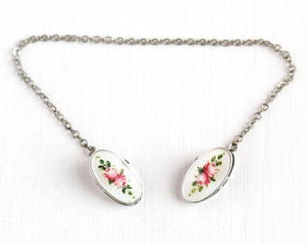 Sale - Antique Sterling Silver Guilloche Enamel Flower Sweater Guard - Vintage Edwardian 1910s Baby Young Child Bib Clip Pink Rose Jewelry