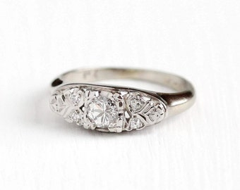 Vintage 14k & 18k White Gold Brilliant Cut 1/5 Carat Diamond Ring - 1940s Size 3 1/4 Engagement Wedding Promise Classic 1/4 CTW Fine Jewelry