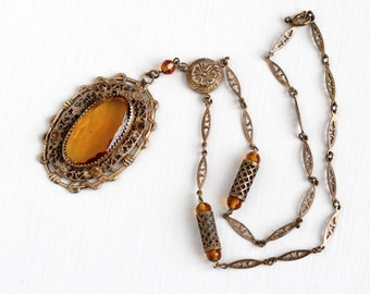 Sale - Vintage Art Deco Simulated Citrine Brass Necklace - 1930s Orange Brown Glass Stone Filigree Flower Lavalier Statement Costume Jewelry
