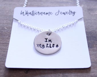 In My Life Beatles Necklace, Hand Stamped Silver Charm, Round Charm, Sterling Silver Chain, Beatles Lyrics, Beatles Necklace