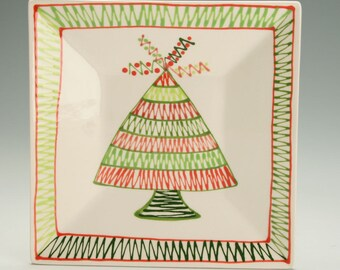 Whimsical Christmas Tree Square Ceramic Plate, Dessert Plate, Salad, Appetizer, Christmas Earthenware Pottery Plate, Handmade Gifts