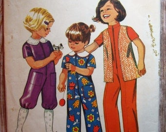 Vintage 1970s Little Girls Jumpsuit in Two Lengths and Vest Size 5 Simplicity 9685 Cut/Complete