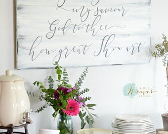 How great thou art reclaimed wood sign