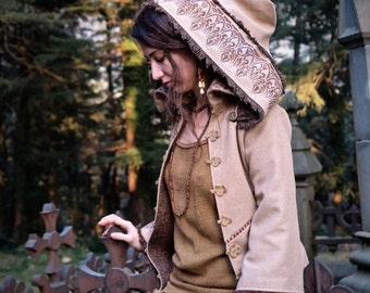 Fairytale Magic double wool winter Jacket with removal hood and embroidery Medieval Fantasy Fairy Pixie