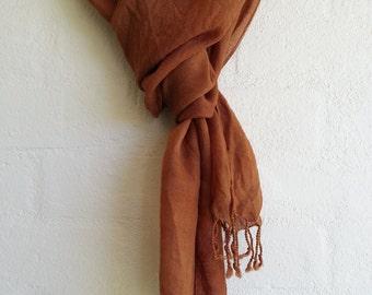 Eucalyptus eco dyed woven wool scarf - unisex