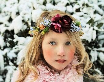 Plum flower headband,deep purple and blue headband,flower headband,halo headband,flower girl headband, bridal headband, ready to ship