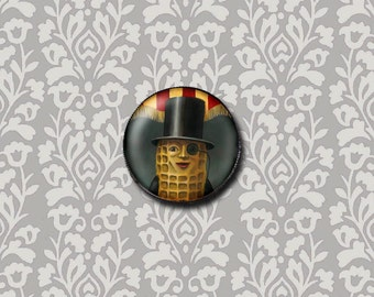 Mr Peanut Brooch - Mr Peanut Portrait Pin - Round - Retro Food Icon - Vintage Peanut Man