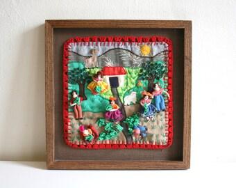 Peruvian Framed Arpillera Textile Collage