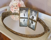 RESERVED for AMANDA, Large Vanity Tray with Filigree and Floral Handles - Oak Hill Vintage