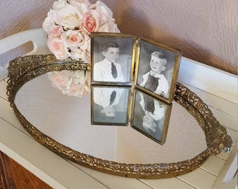 Large Vanity Tray with Filigree and Floral Handles - Oak Hill Vintage
