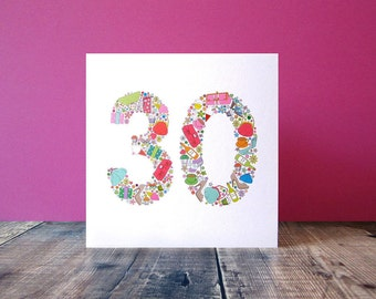 30th Birthday Card - Birthday Card For Her - Thirtieth Special Birthday - Girlie Things 30th Birthday Card