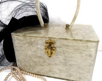 1950s Lucite Purse Miami Style Handbags, Pearlized Light Gray, Brass Clasp & Hinges
