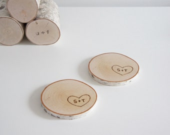 personalized natural white birch wood coasters - set of 2, valentine's day gift, heart & initials, coasters for two, gift for couple