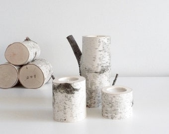 white birch wood candle holders set of 3 - birch candle holders, log candle holders, tree candle holders, romantic gift