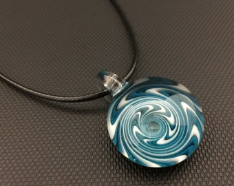 Glass Pendant // Agua Azul and Star White Switchback // Adjustable Black Necklasce