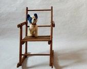 Vintage Doll Rocking Chair Pine Wood Folding Doll Rocker / 1940s Collapsible Doll Rocking Chair Vintage Doll Furniture Rocking Chair