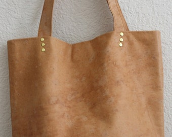 Vegetable tan leather tote bag with red lining, Large brown leather  bag