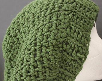 "Knitted ""Seaweed Green"" Beanie,  Slouchy Head Accessory,  Boho-chic"