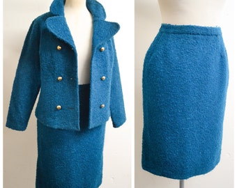 1960s Teal blue bouclé straight skirt suit / 60s double breasted jacket & pencil skirt - XS